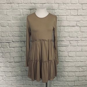 Long Sleeve Taupe Babydoll Style Top